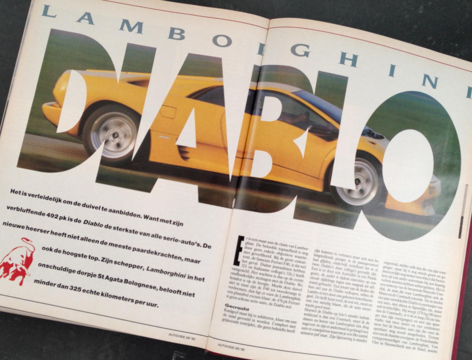 Rij-indruk Lamborghini Diablo, Autovisie 26, 1990