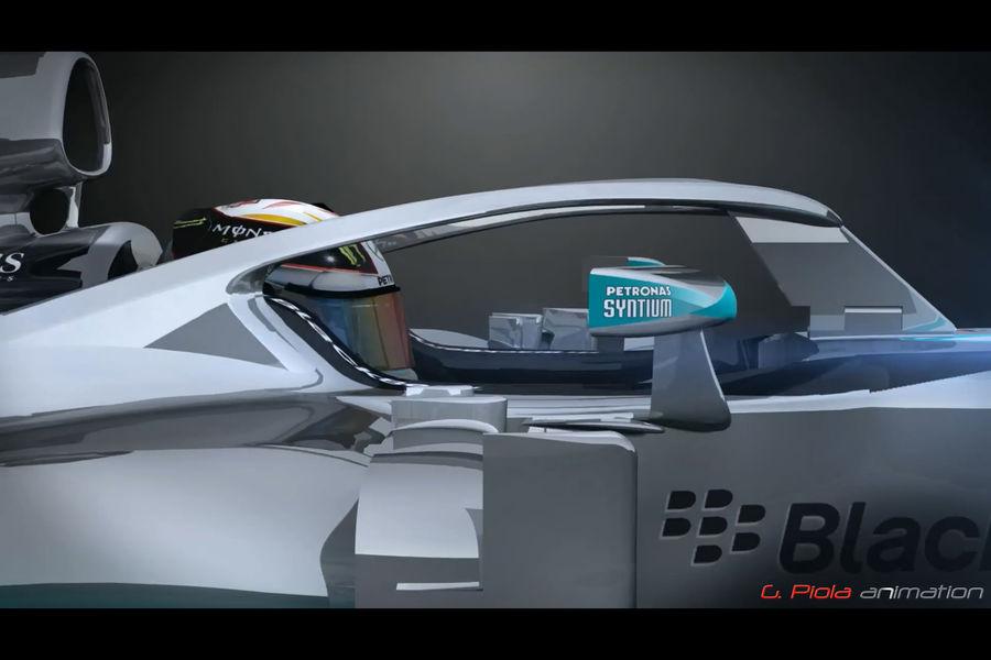 Zo zou een cockpit van een Formule 1-auto er in de toekomst uit kunnen komen te zien. Foto: G. Piola Animation