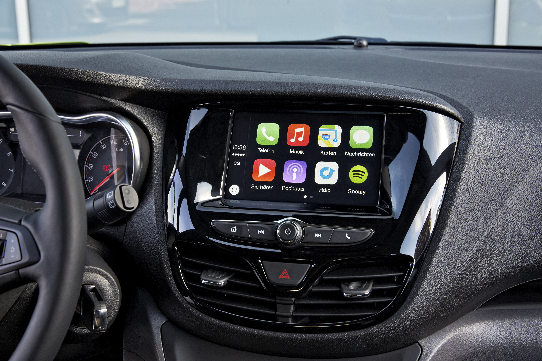 Zelfs in het A-segment is nu CarPlay te krijgen, zoals in de Opel Karl en Mitsubishi Space Star.