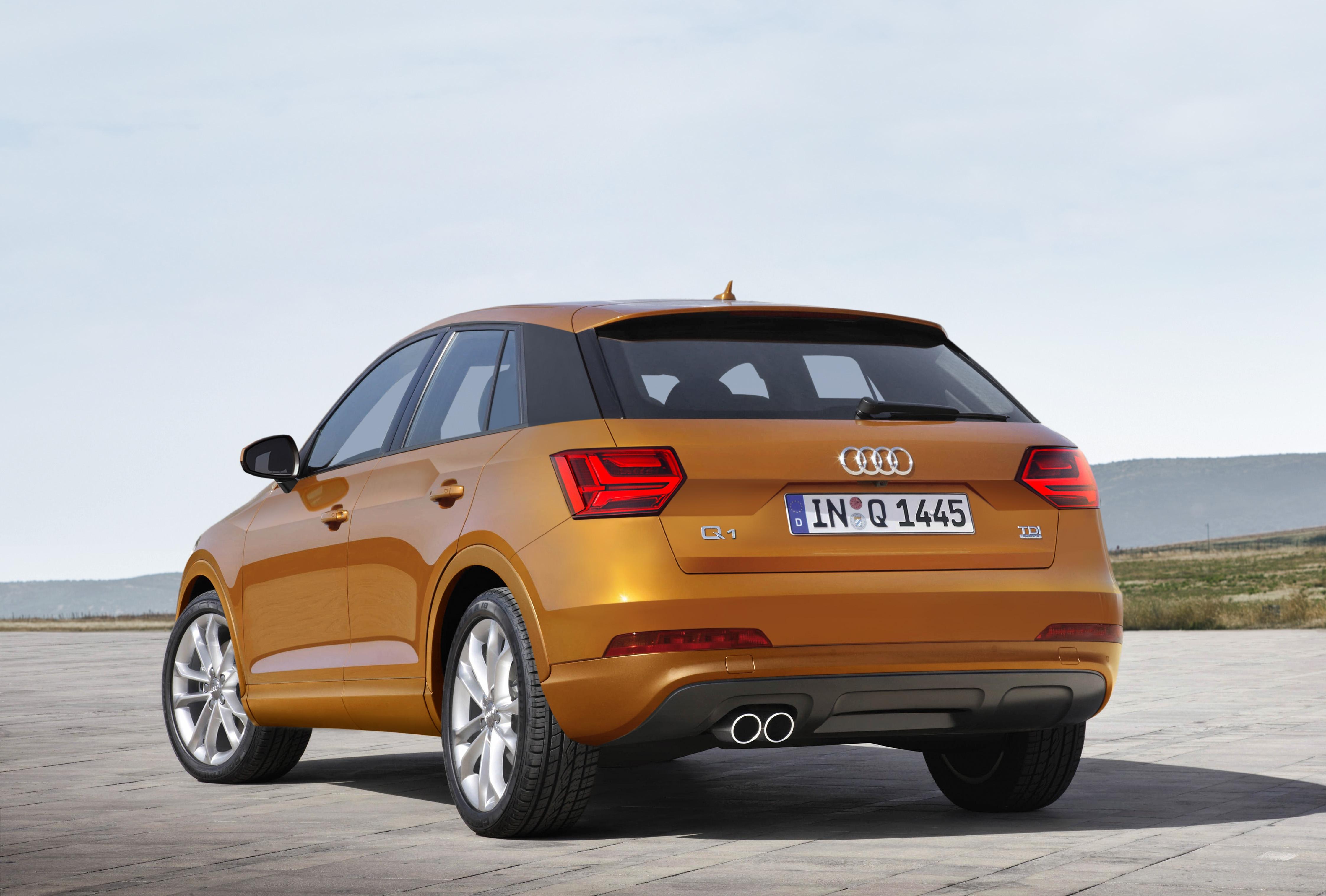 Een impressie van Audi Q1/Q2. In het echt lijkt de kentekenplaat lager te zitten. Impressie: Schulte Design