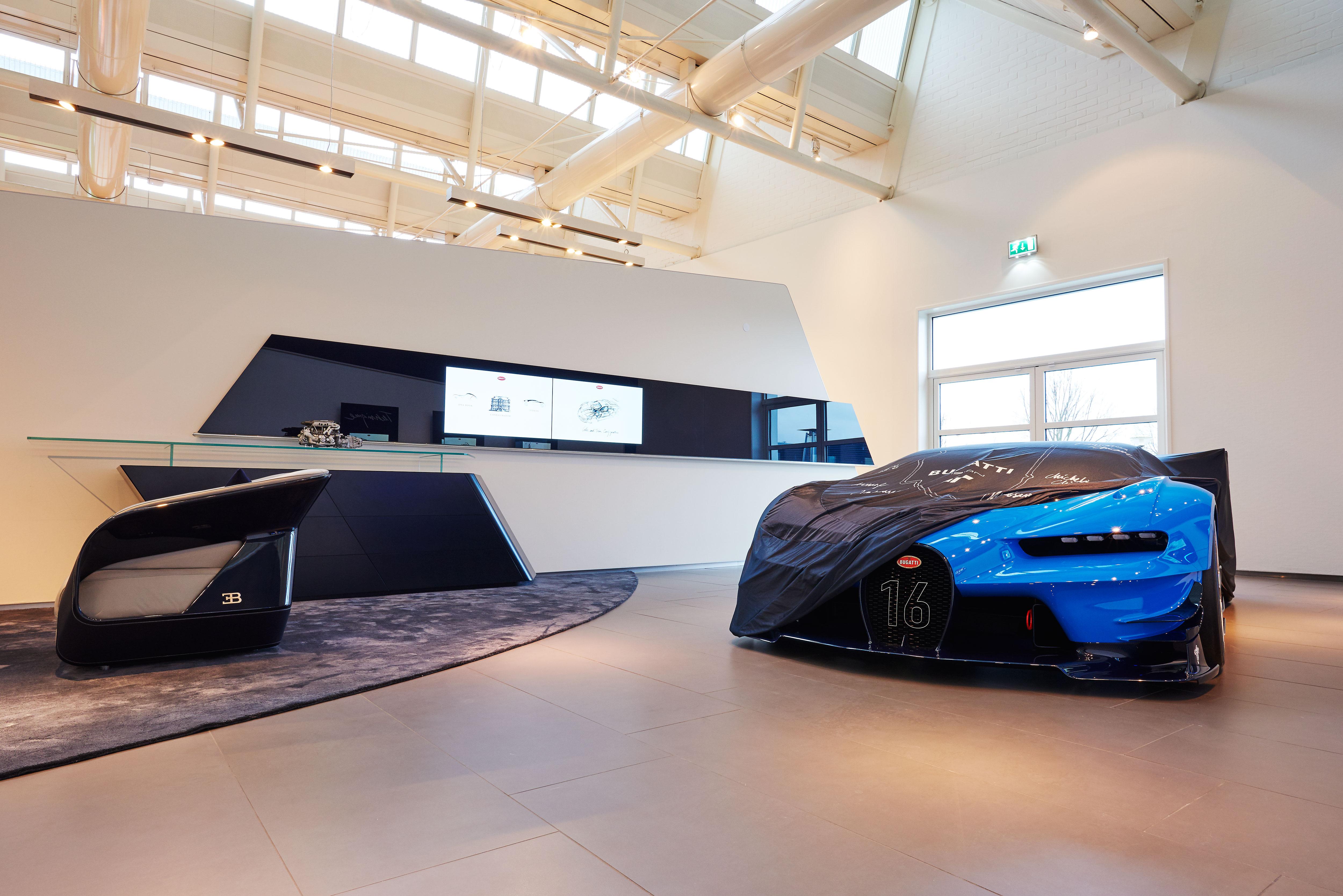 De showroom voor Bugatti in Leusden.