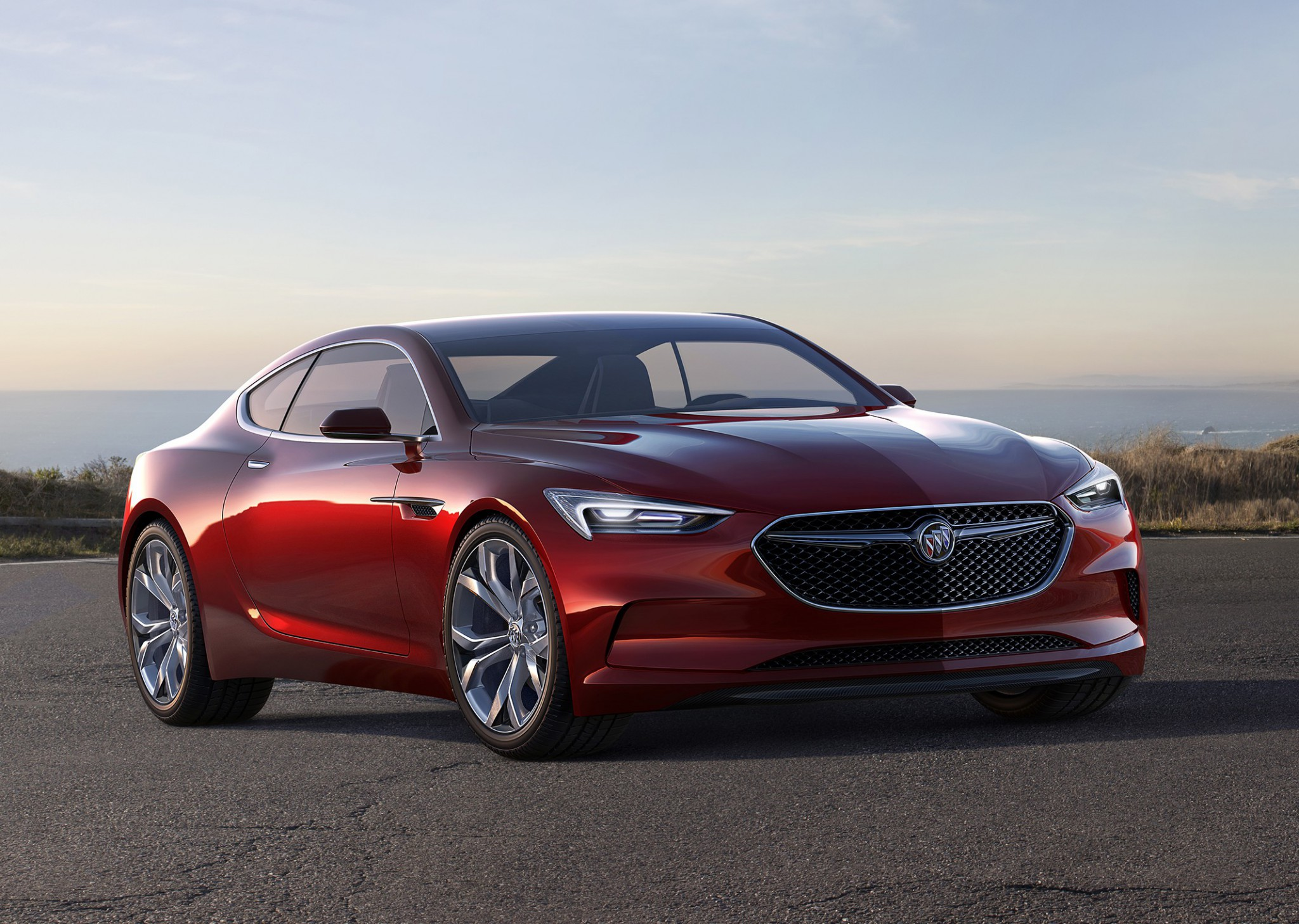 Buick Avista Concept front view shown in lacquer jewel red finis