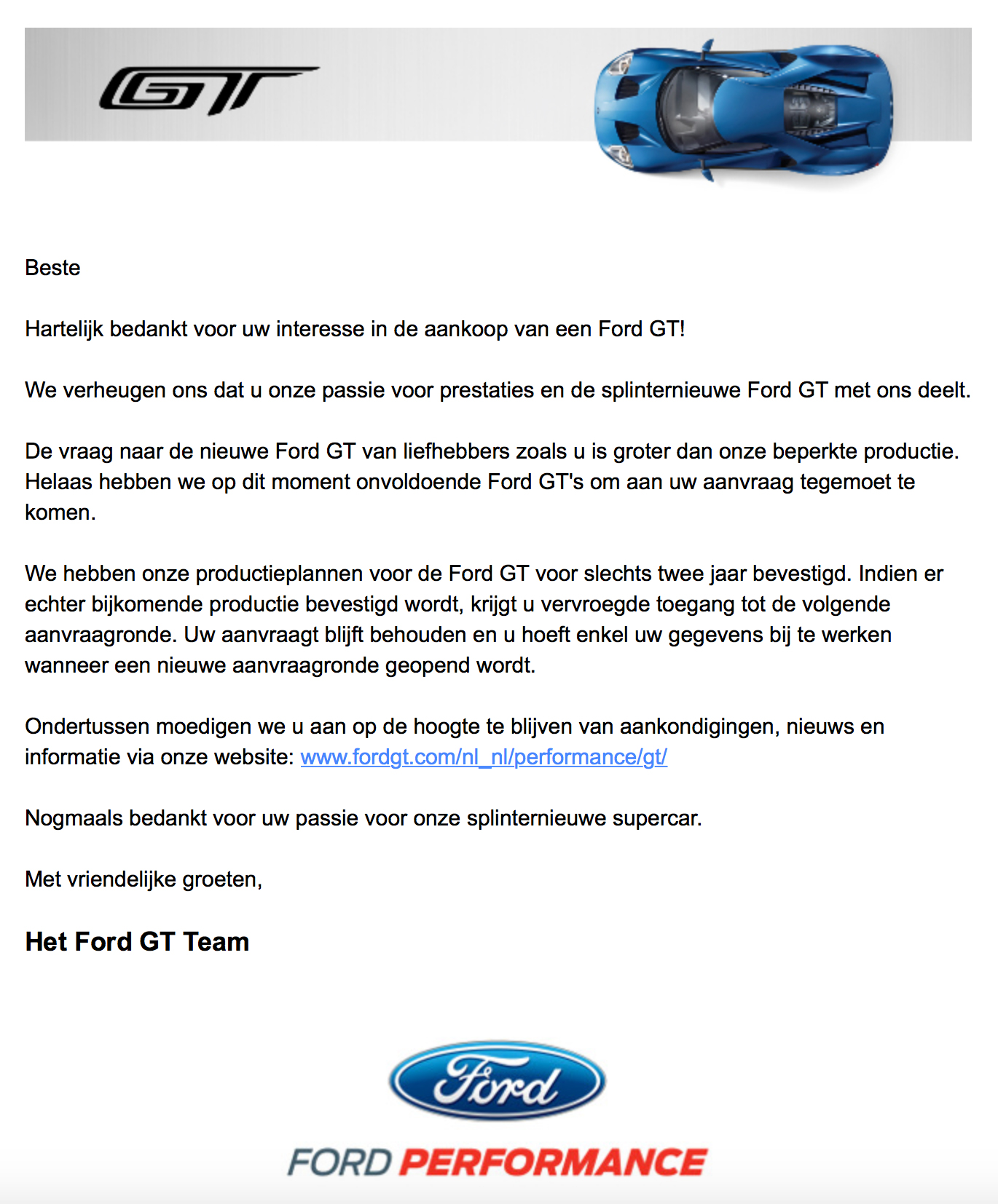 Ford GT brief - Autovisie.nl