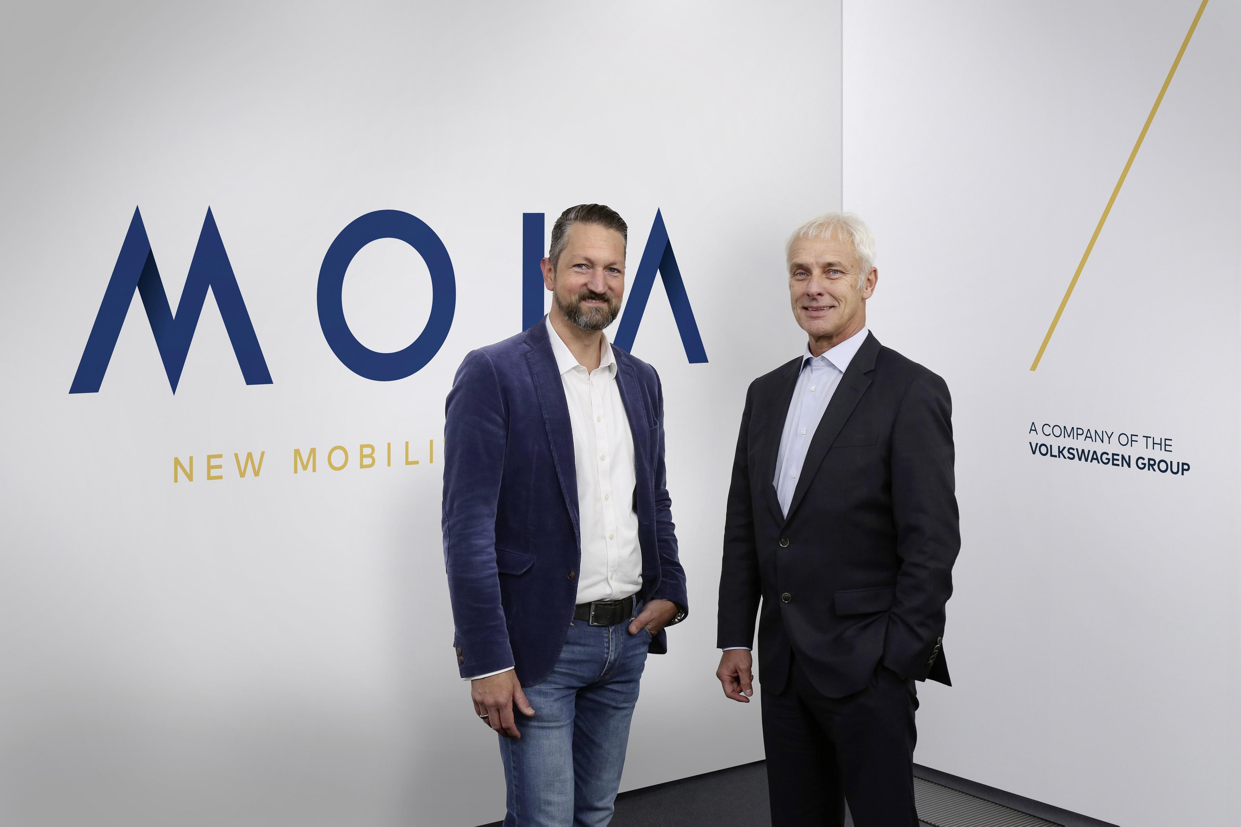 Ole Harms, topman Moia en Matthias Müller, topman VW