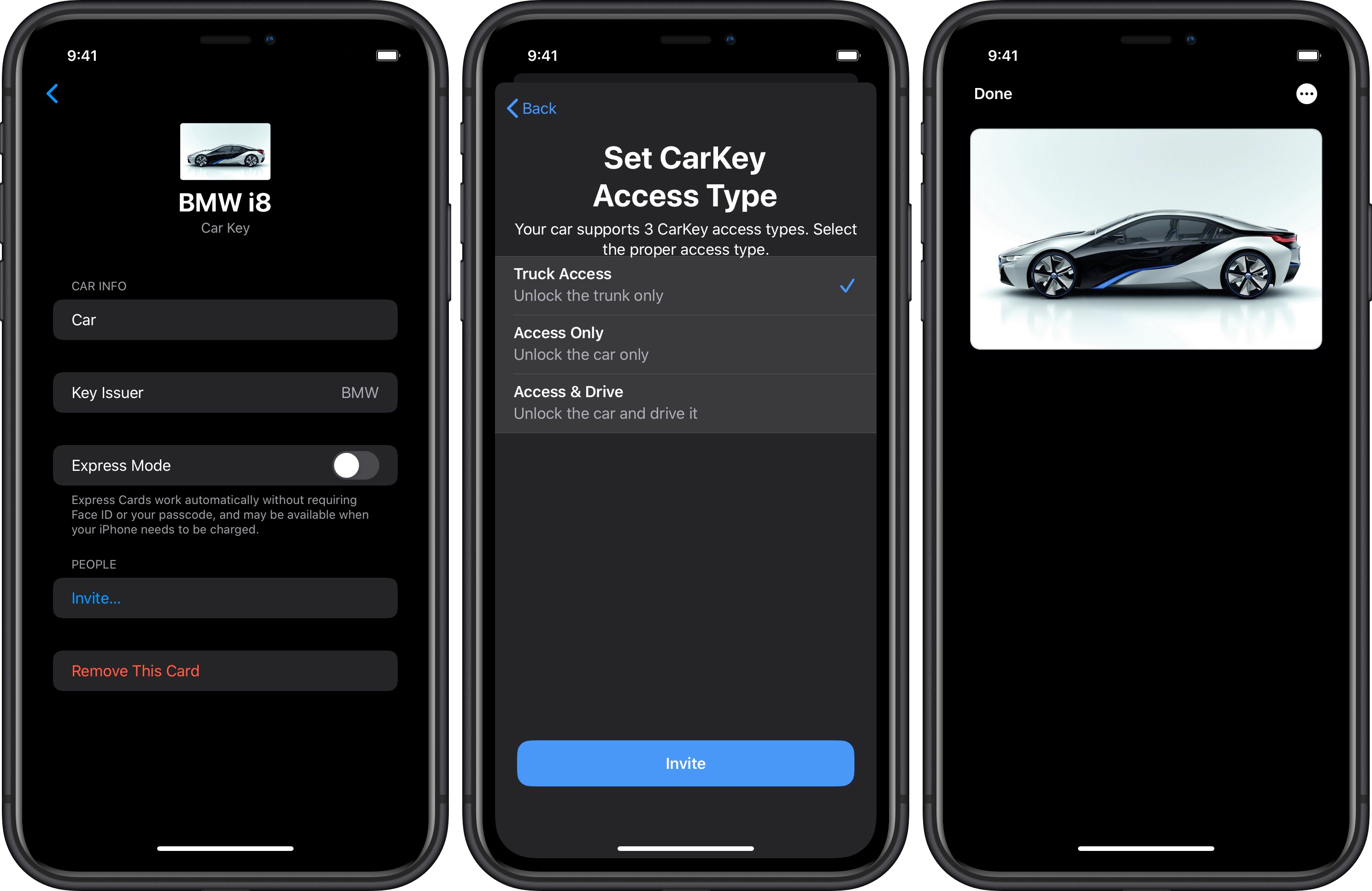 Apple CarKey BMW i8