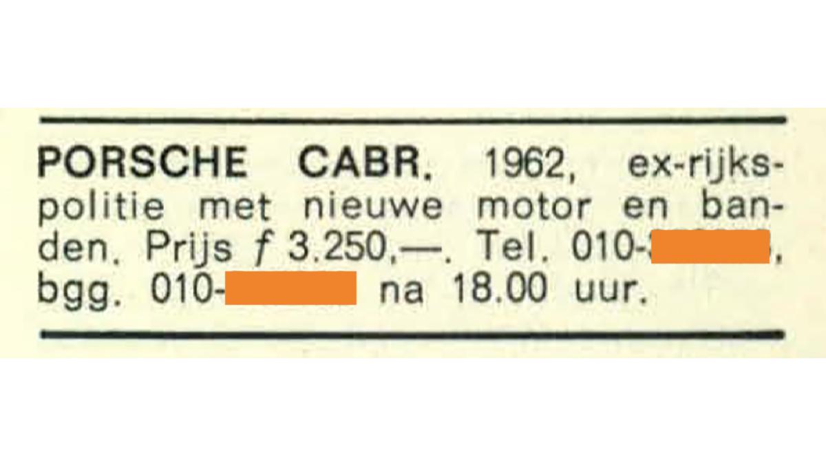 PORSCHE ADV 1970 PRIJSLIJST politie-porsche