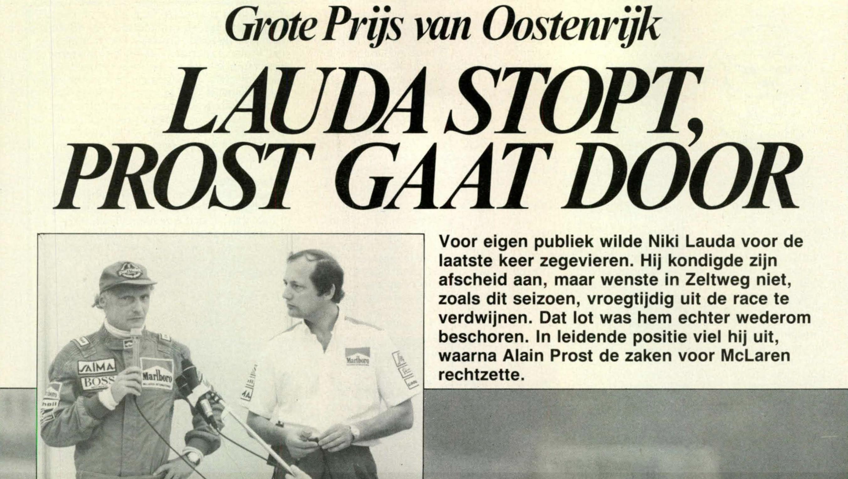 Lauda stopt Prost gaat door