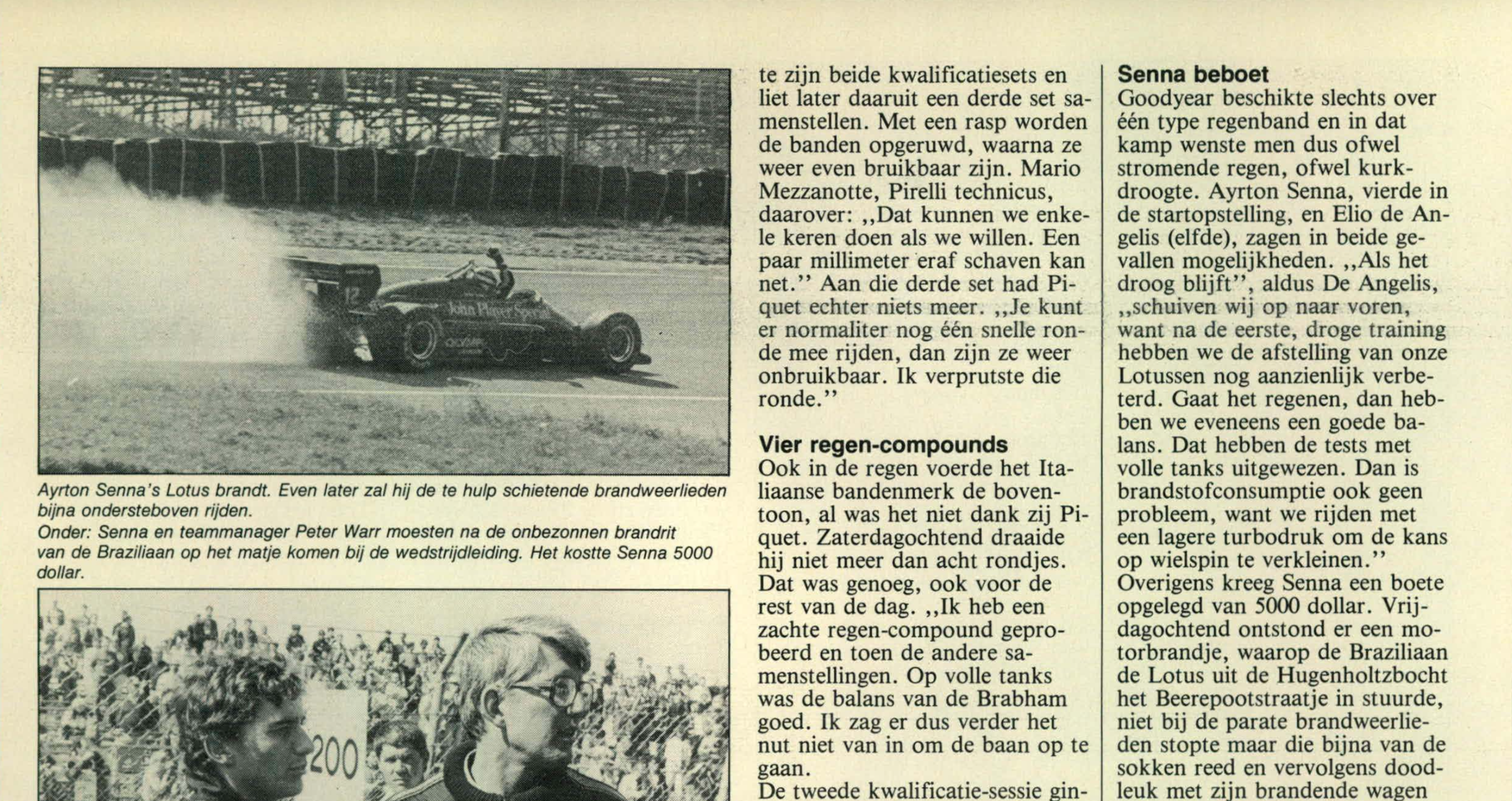 Senna in brand - Zandvoort 1985