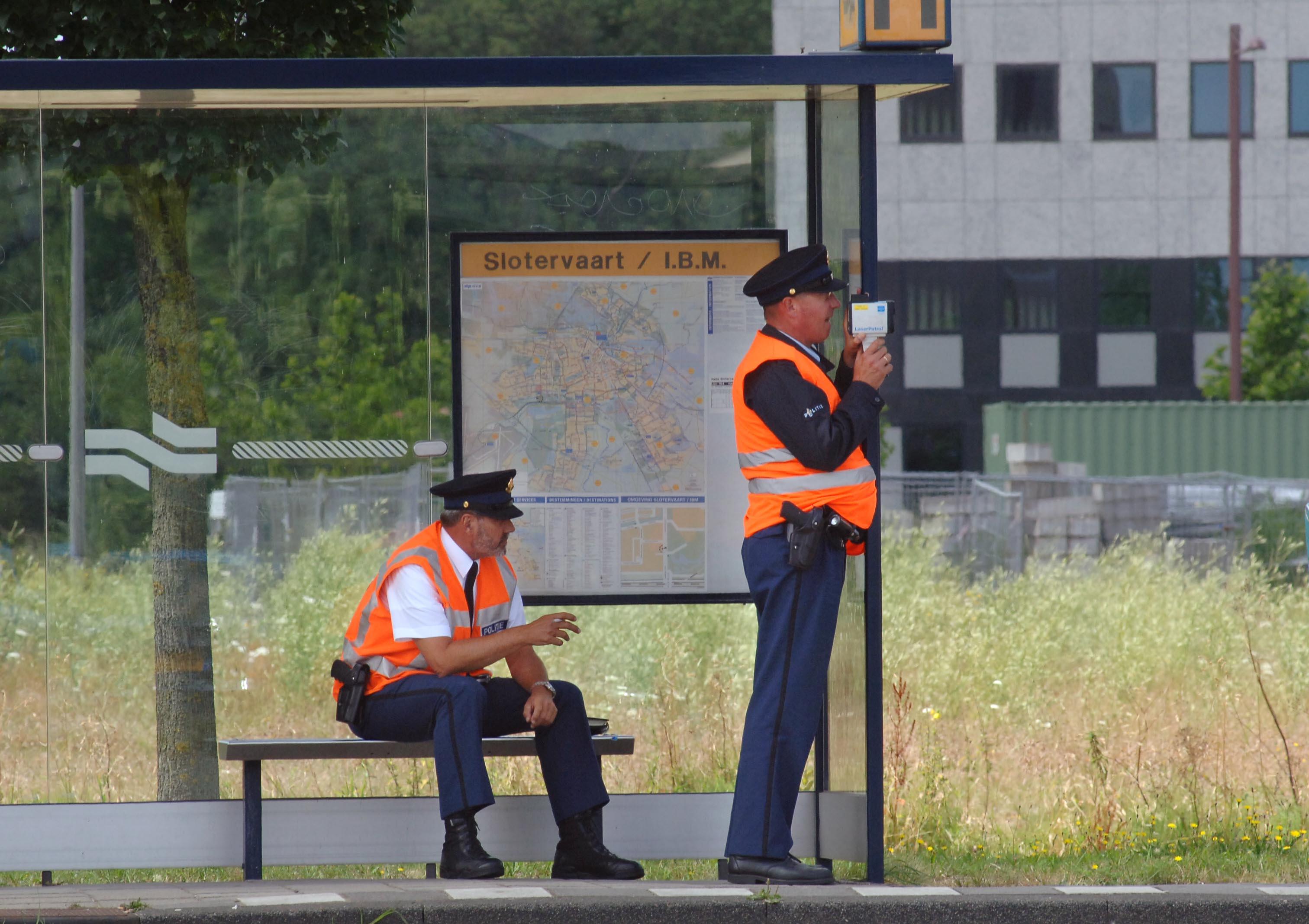 Politie laser snelheidscontrole